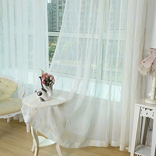 [ZWB Light Blue and Yellow Stripe Tulle Valances Window Rod Pocket Process Curtain Treatments Sheer Curtains Voile Balcony Curtain Sheer Voile Panel Drapes 63 84 96 inch length 1 Panel W39 x L63 Inch] (Stripe Rod Pocket Panel)