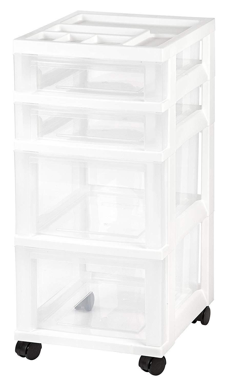 IRIS USA, Inc. 4-Drawer Rolling Storage Cart with Organizer Top, White