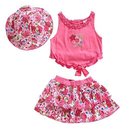 (Frogwill Little Girls 3 Pieces Embroidered Playwear Sunhat Shorts Sets 4T)