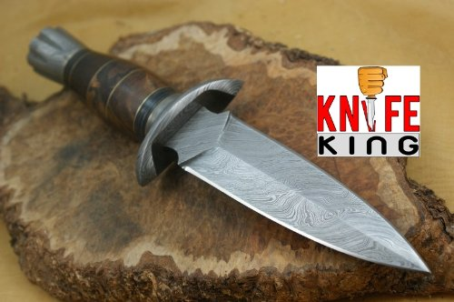 Knife King Janus Damascus Handmade Hunting Knife. Comes with a sheath.
