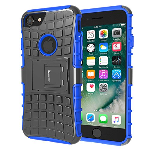 Shockproof iPhone 7 Case,Heavy Duty Rugged Dual Layer Hybrid Armor Protective Cover For Apple iPhone 7 with Kickstand - Blue