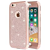 iPhone 6 Plus Case, iPhone 6s Plus Case, Anuck 3 in 1 Hybrid Shockproof Glitter Protective Case [Bling Sparkles] Heavy Duty Armor Defender Case Cover for Apple iPhone 6/6s Plus (5.5 inch) - Rose Gold