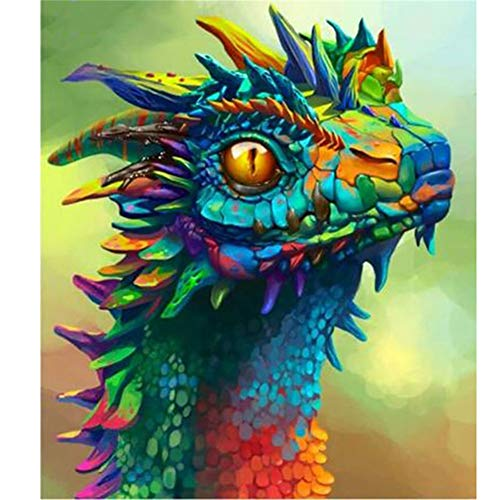 Dylan's cabin DIY 5D Diamond Painting Kits for Adults,Full Drill Embroidery Paint with Diamond for Home Wall Decordragon/16x12inch)