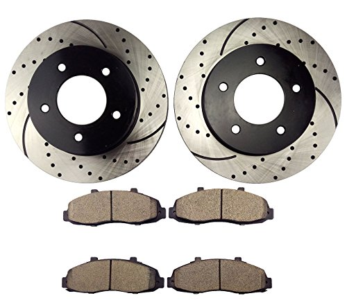 (Atmansta QPD10050 Front Brake kit with Drilled/Slotted Rotors and Ceramic Brake pads for Ford F-150)