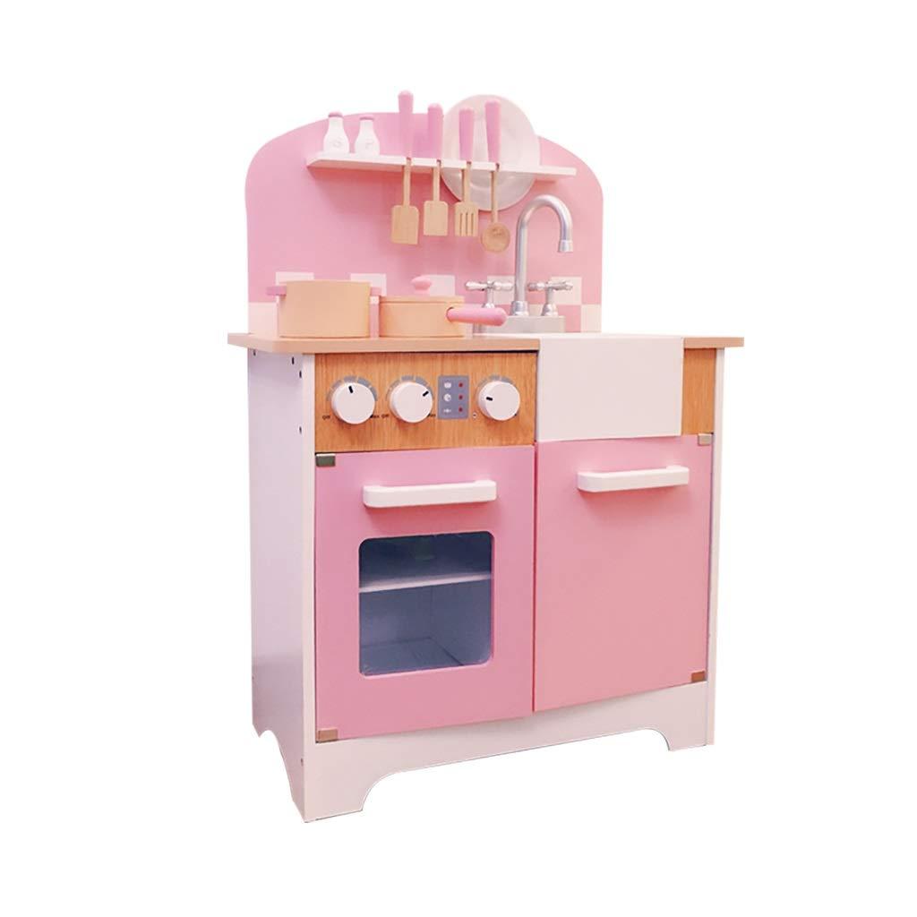 キッチン玩具 キッチン玩具 キッチンを遊ぶ キッズキッチン 調理セット キッチンセット 木のおもちゃ 3歳以上のおもちゃ ーキッチンプレイセット 子供向けギフト (Color : Pink, Size : 56*30*78cm) 56*30*78cm Pink B07T95148K