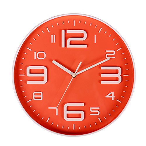 Indoor Big 3D Number Quartz Silent Non Ticking Wall Clock Quiet Sweep Movement Decorative Battery Operated 10 Inch Orange by SonYo