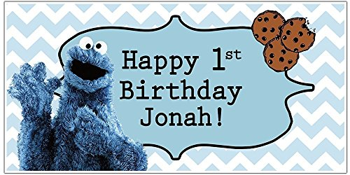 Cookie Monster Birthday Banner Personalized Party Backdrop Decoration