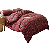 LifeTB Red Grid Plaid Duvet Cover Set Queen 3 Piece Flannel Feel Cotton Bedding Set Full Warm Soft Reversible Checkered Duvet Comforter Cover Set Modern Autumn Winter Bedding Collection