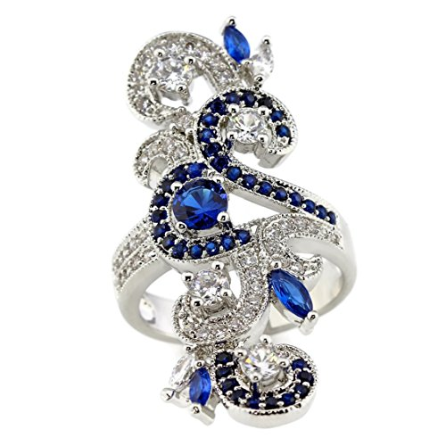 Vintage Inspired Marquise Created Sapphire and CZ Long Knuckle Armor Art Deco Ring Size 7 (Created Antique Style Ring)