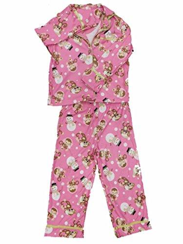 Snowman Flannel Pajamas - St. Eve Girls Pink Monkey & Snowman Pajamas Christmas Holiday Flannel Sleep Set S (6-7)