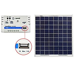 ACOPOWER 15W 12V Solar Charger Kit, 15 Watts Polycrystalline Solar Panel with 10A PWM Charge Controller