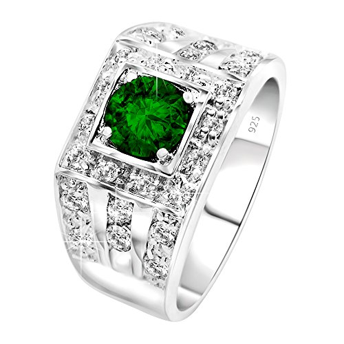 Mens Sterling Silver .925 Ring Featuring a Green Round Synthetic Emerald and White Cubic Zirconia (CZ) Stones