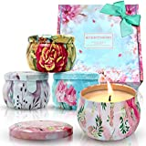 Scentorini Scented Candles Gift Set, 4X4.4oz, Blush Peony, Cinnamon Apple, French Lavender and Velvet Rose, Natural Soy Wax, Portable Travel Tin Handmade Aromatherapy Floral Candle