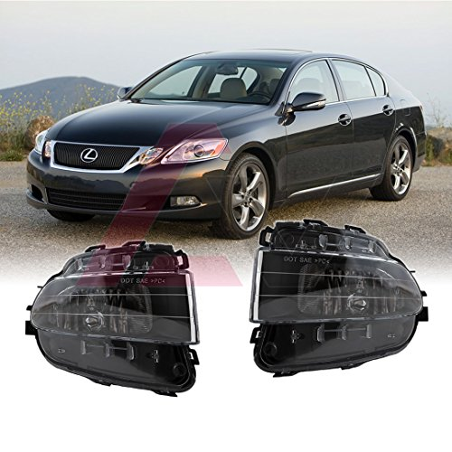 Winjet WJ30-0570-09 for 2006 - 2011 Lexus GS 300 / 350 / 430 / 460 Clear Lens RH LH Factory OE Fitment Style Replacement Pair Fog Lights Lamps (Bulbs - Fog Lamp Replacement Oe