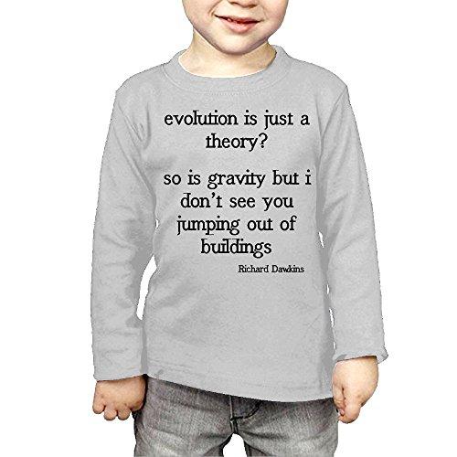 ZheuO Boys & Girls Baby Richard Dawkins Funny Evolution Quote Soft 100% Cotton T-Shirts Unisex Gray 4 Toddler