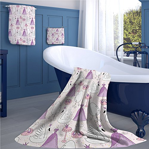familytaste Swan Bath towel 847D digital printing set Princess Dress Gown Magic Shoes Mirror and Cute Swans with Tiaras Pattern bathroom hand towels set Lavander Blush White by familytaste