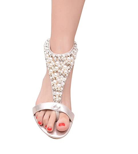 Longra Donne Rilievo piatto di Open Toe Sandals (EU Size:37, Nero)