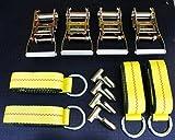 (12 items) Combo 4 Lasso Straps Wheel Lift Strap 4 2'' Ratchet 4 J Finger Hook Towing