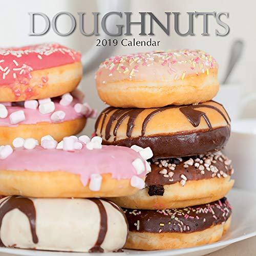 2019 Wall Calendar - Doughnuts Calendar, 12 x 12 Inch Monthly View, 16-Month, Food and Dessert Theme, Includes 180 Reminder Stickers (Calendar Food)