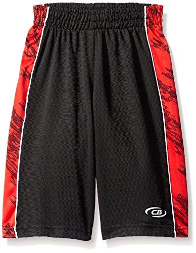 CB Sports Big Boys' Athletic Short, TM37-Lines/Spike Engine Red, 10/12 Boys Elastic Waist Shorts