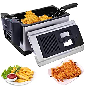 Electric Deep Fryer Stainless Steel 3 1/2 Quart 1600W With Temperature Control