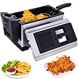Electric Deep Fryer Stainless Steel 3 1/2 Quart 1600W With...