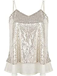 Women's Sleeveless Camisole Sequined Tank Tops
