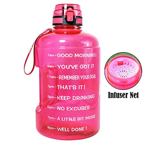 BuildLife Gallon Motivational Water Bottle Wide Mouth with Time Marker/Flip Top Leakproof Lid/One Click Open/Large BPA Free Capacity for Fitness Goals and Outdoor(Pink, 1 Gallon)