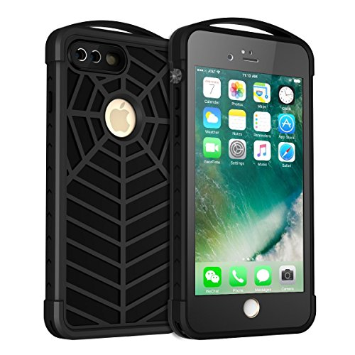 Waterproof Case for iPhone 7 Plus, iThrough Underwater Case for iPhone 8 Plus, Dust Proof, Snow Proof, Shock Proof, Heavy Duty Protective Spider Case Cover with Carabiner Hook for 7 Plus, 5.5