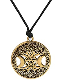 Tree of Life Pagan Triple Moon Goddess Pentacle Gloden Adjustable Moon Necklace Jewelry for Women