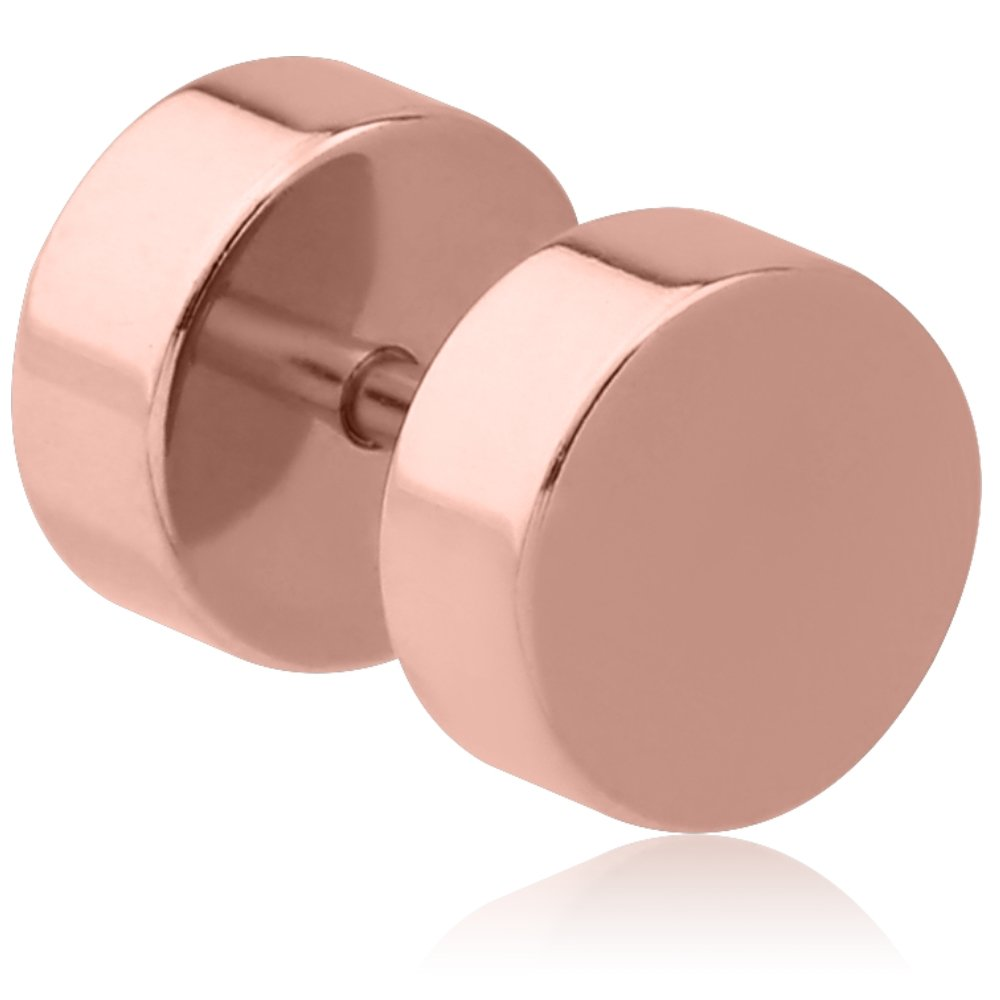 eeddoo Rosegold Steel - Fake Plug 6 mm (Fake Flesh Tunnel Cheater Plug Piercingschmuck Ohrringe für Damen und Herren): Amazon.es: Joyería
