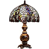 Bieye L10568 12-inches Wisteria Tiffany Style Stained Glass Table Lamp, 19-inch Tall