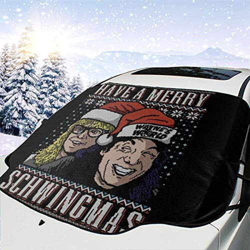 ENXIANGXIJ Merry Schwingmas Christmas Waynes World Car Windshield Snow Cover, Ice Removal Sun Shade, Fit for Universal Cars (58'' X47'')