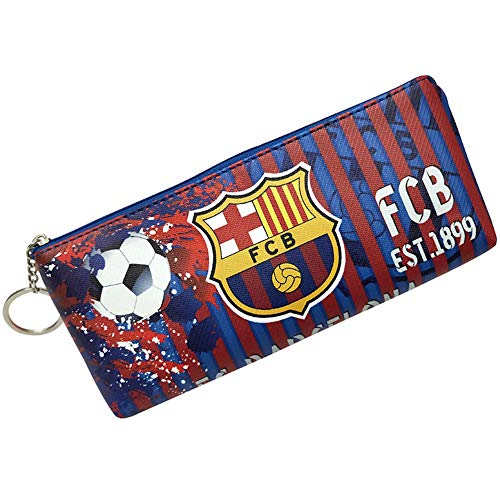 Football Club Soccer Team Logo Unisex Football Keychain Doodle Pencil Bag Stationery Bag(Barcelona,8.3-3.94in)