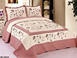 3pcs Fully Quilted Embroidery Quilts Bedspread Bed Coverlets Cover Set , Queen King