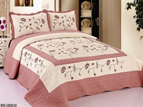 Rose Queen Quilt (3pcs High Quality Fully Quilted Embroidery Quilts Bedspread Bed Coverlets Cover Set , Queen King (Beige/Rose))