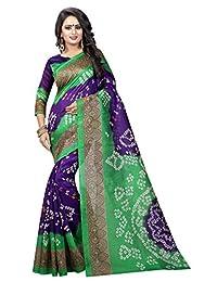Shonaya Women`S Printed Bhagalpuri Silk Bandhani Saree with Unstitched Blouse Piece