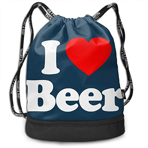 GLSEY Bag Unisex I Love Beer Heart Multifunctional Drawstring Travel Bag Casual Outdoor (T-shirts Lifes Priorities Beer)