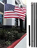 AES 10ft Black Steel Outdoor Flag Pole KIT + Ground Spike + Shock Absorber (no flag)