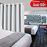 Multi-functional Room Divider Curtain - PONY DANCE Room Darkening Eyelet Top Room Divider Curtain Panel, Greyish White, 10ft Wide x 8ft Long, 1 Panel
