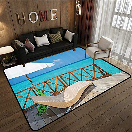 - Abstract Design Area Rug,Coastal Decor Collection,Parasol and Chaise Lounges Deckchair on a Terrace of Water Villa in Maldives Reef Picture,Aqua 59
