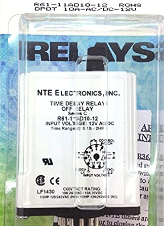 10 Amp NTE Electronics R61-11AD10-12 Series R61 Delay On Operate Time Delay Relay Programmable DPDT 12 VAC//DC Inc.