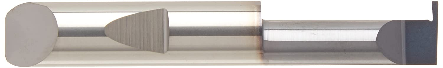 Solid Carbide 63 mm Overall Length 30 mm Maximum Bore Depth 8 mm Minimum Bore Diameter 2.50 mm Projection 0.90 mm Groove Width Micro 100 RRM-090-30G Right Hand Retaining Ring Grooving Tool TiN Coated 8 mm Shank Diameter Metric Dimensions