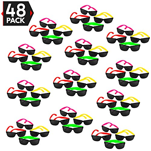 48 Pack 80's Style Neon Party Sunglasses - Fun Gift, Party Favors, Party Toys, Goody Bag -