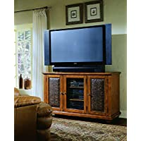 Hooker Furniture Telluride Plasma Black Console with Leather, Black Finish with Reddish Brown Rub-Through