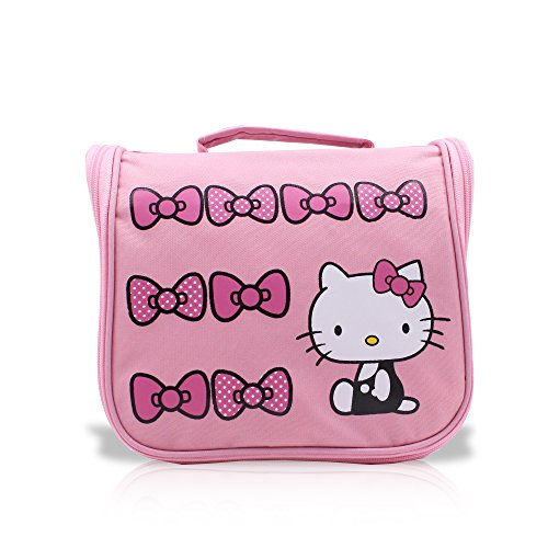 (Finex Pink Hello Kitty Toiletry Shower Bag with Hanging Hook Cosmetic Make up Organizer Bag for Travel Accessories Personal Items with Mesh Pocket for girls women)