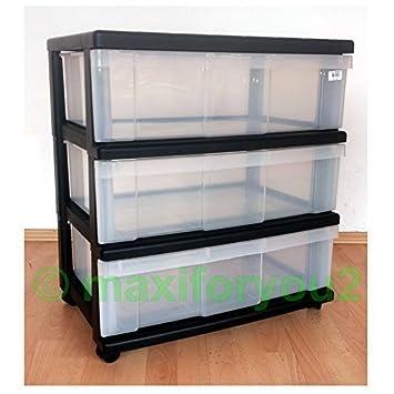 Rollcontainer kunststoff 3 schubladen  Rollcontainer, Rollwagen, Schubladenschrank, Büroschrank mit 3 ...
