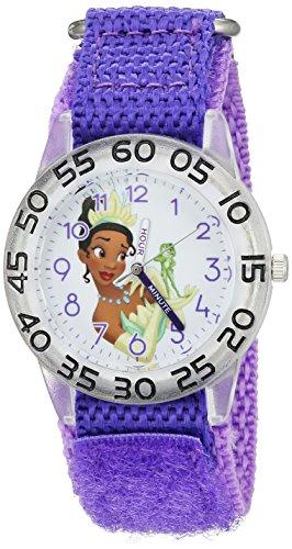 Disney Girl's 'Tiana' Quartz Plastic and Nylon Watch, Color:Purple (Model: W002977)