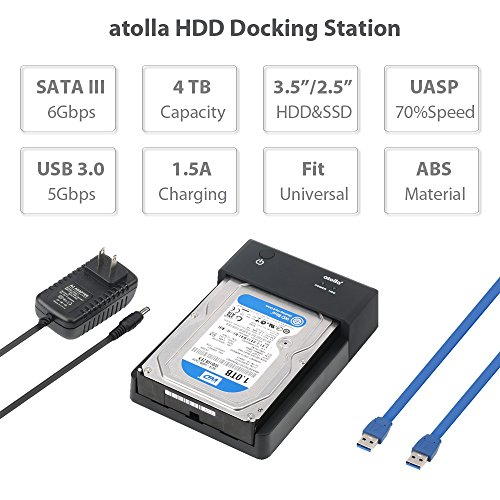 atolla Lay-Flat SATA to USB 3.0 HDD Enclosure External Hard Drive Docking Station for 2.5 or 3.5 inch HDD/SSD with 2 Data/Charging USB Ports (Supports UASP and Drives 4TB) by Atolla (Image #4)