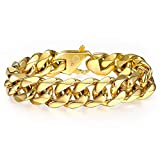 Trendsmax 15MM Men's 316L Stainless Steel Gold Chunky Curb Cuban Link Chain Bracelet Gifts for Men Boys Fits 8 inch